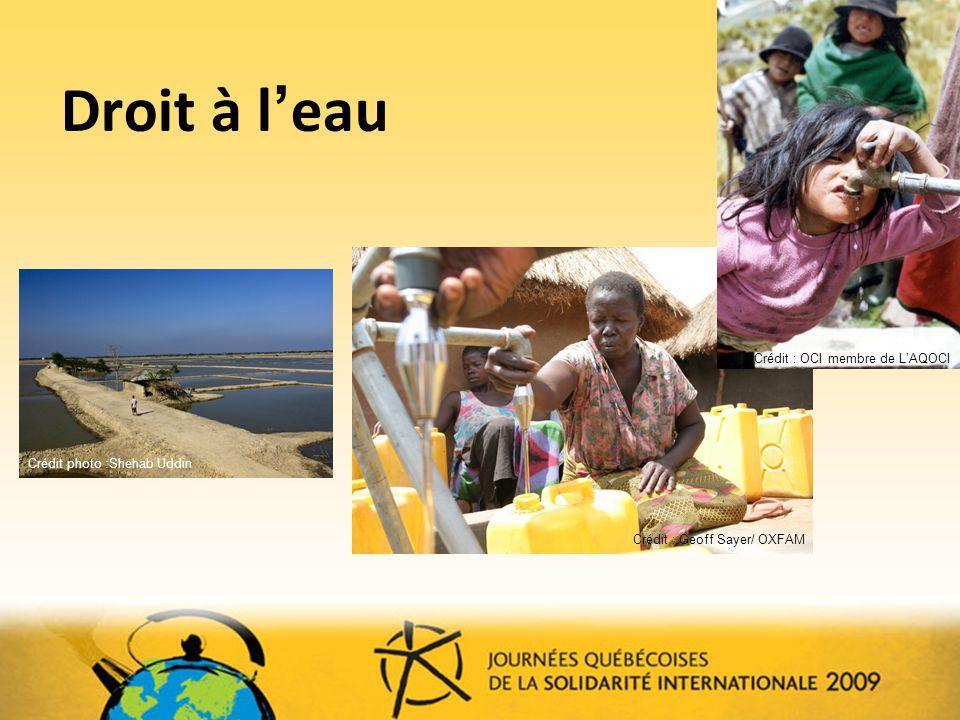 Droit à l eau Crédit photo :Shehab Uddin Crédit : Geoff Sayer/ OXFAM Crédit : OCI membre de LAQOCI