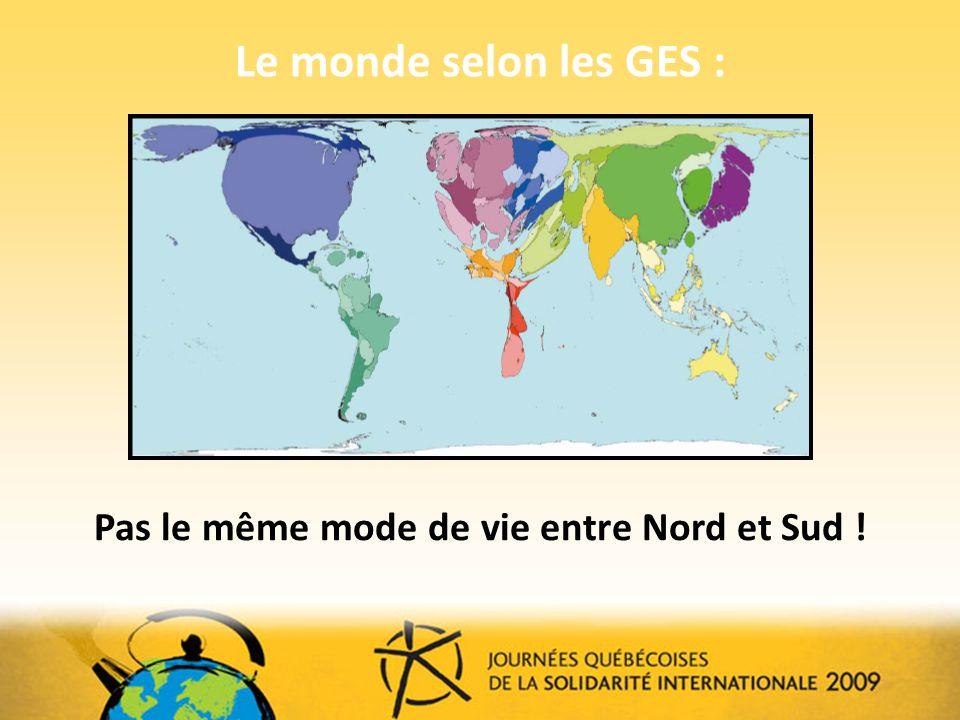 Le monde selon les GES : Pas le même mode de vie entre Nord et Sud !