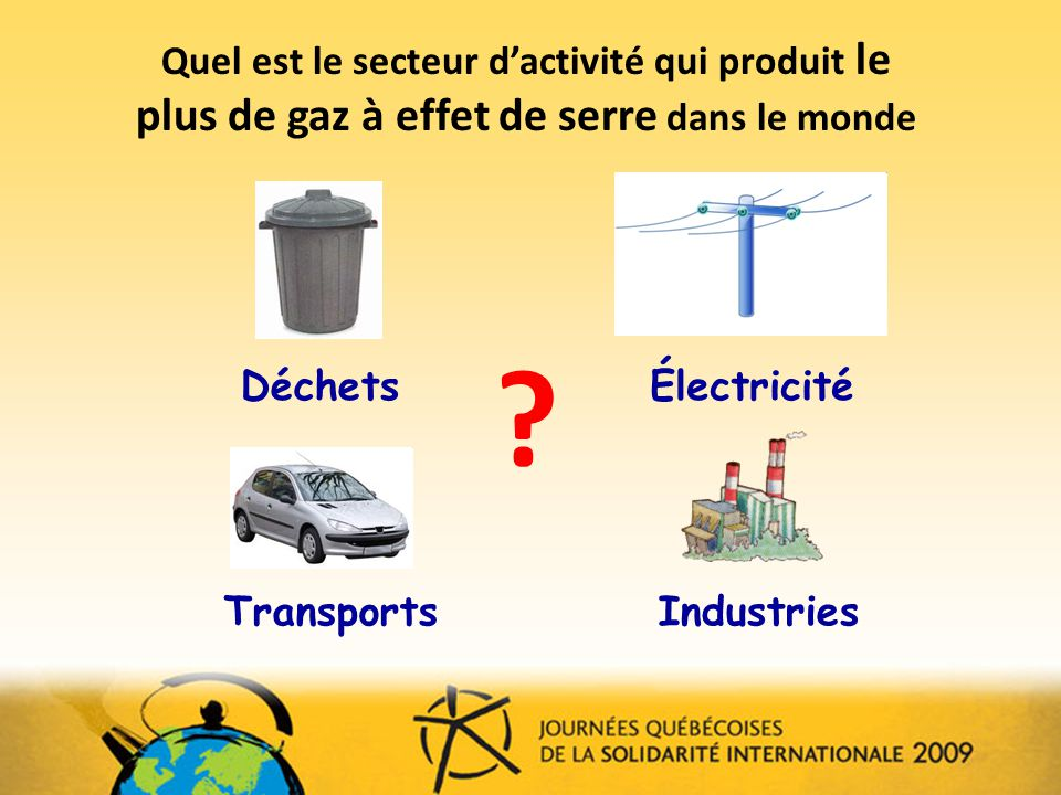 Quel est le secteur dactivité qui produit le plus de gaz à effet de serre dans le monde .