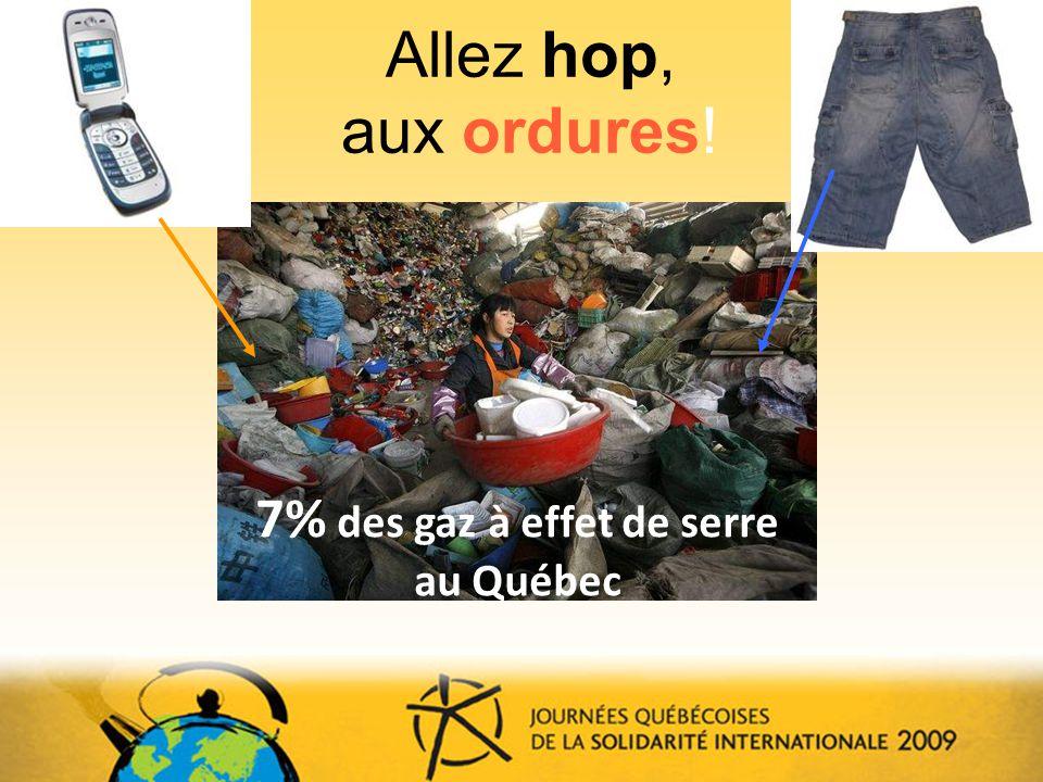 Allez hop, aux ordures! David Grey 7% des gaz à effet de serre au Québec