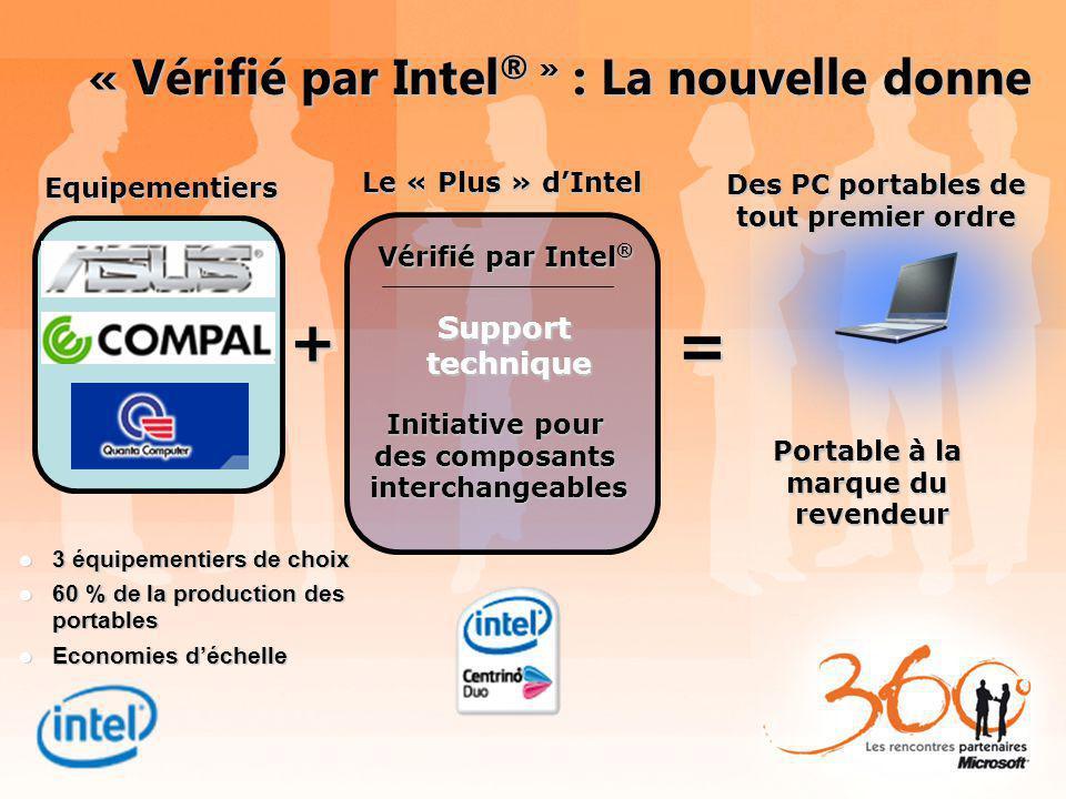« Vérifié par Intel ® » : La nouvelle donne Portable à la marque du revendeur Equipementiers + Le « Plus » dIntel = Des PC portables de tout premier o