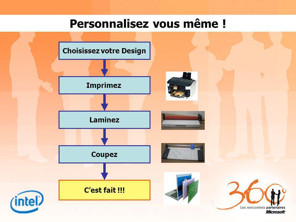Personnalisez vous même ! Choisissez votre Design Imprimez Laminez Cest fait !!! Coupez