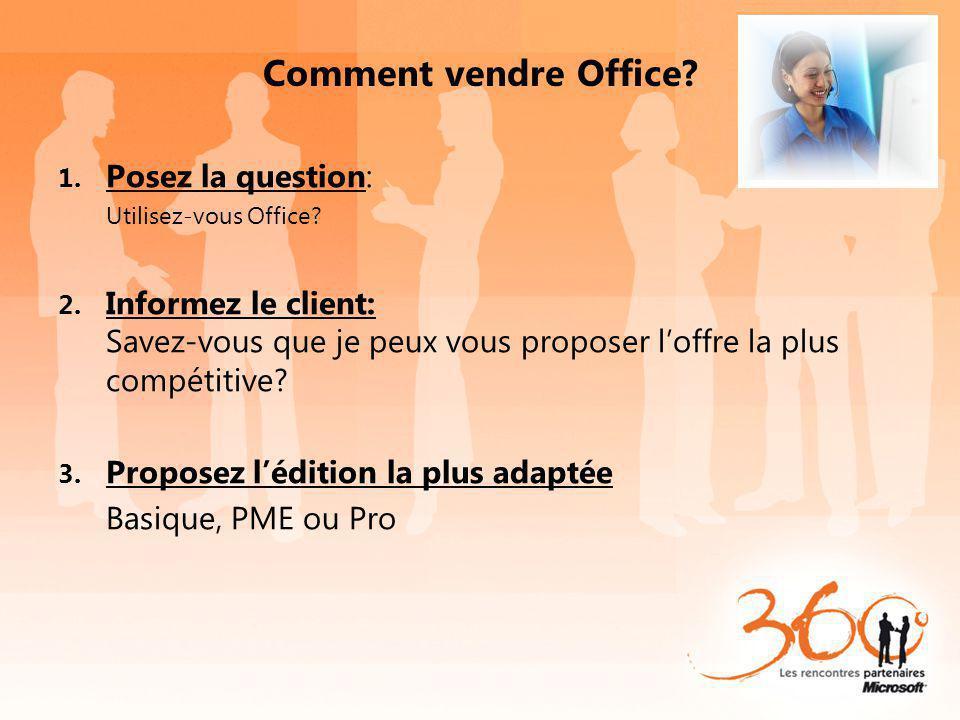 Comment vendre Office? 1. Posez la question: Utilisez-vous Office? 2. Informez le client: Savez-vous que je peux vous proposer loffre la plus compétit