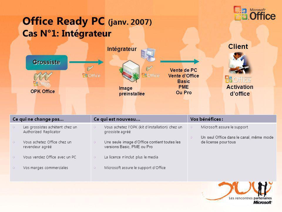 Office Ready PC (janv. 2007) Cas N°1: Intégrateur Intégrateur Grossiste Activation doffice Ce qui ne change pas…Ce qui est nouveau…Vos bénéfices : Les