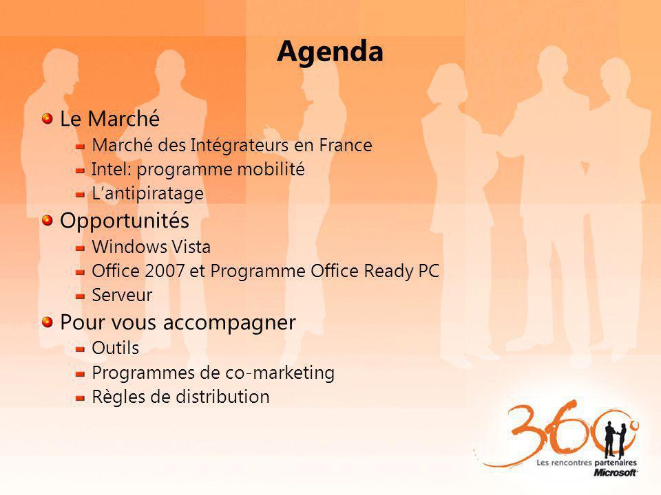 Agenda Le Marché Marché des Intégrateurs en France Intel: programme mobilité Lantipiratage Opportunités Windows Vista Office 2007 et Programme Office Ready PC Serveur Pour vous accompagner Outils Programmes de co-marketing Règles de distribution