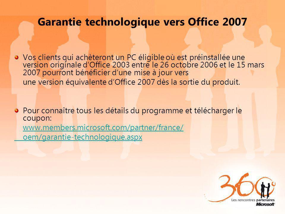 Garantie technologique vers Office 2007 Vos clients qui achèteront un PC éligible où est préinstallée une version originale dOffice 2003 entre le 26 octobre 2006 et le 15 mars 2007 pourront bénéficier dune mise à jour vers une version équivalente dOffice 2007 dès la sortie du produit.