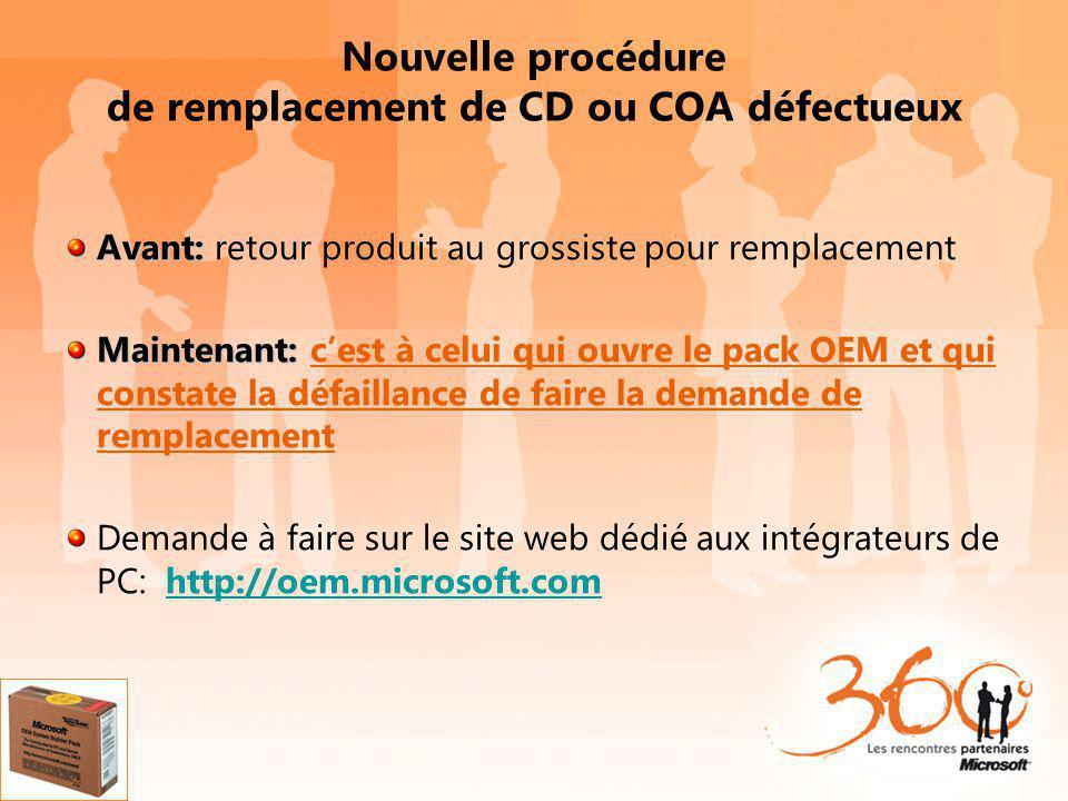 Nouvelle procédure de remplacement de CD ou COA défectueux Avant: Avant: retour produit au grossiste pour remplacement Maintenant: Maintenant: cest à