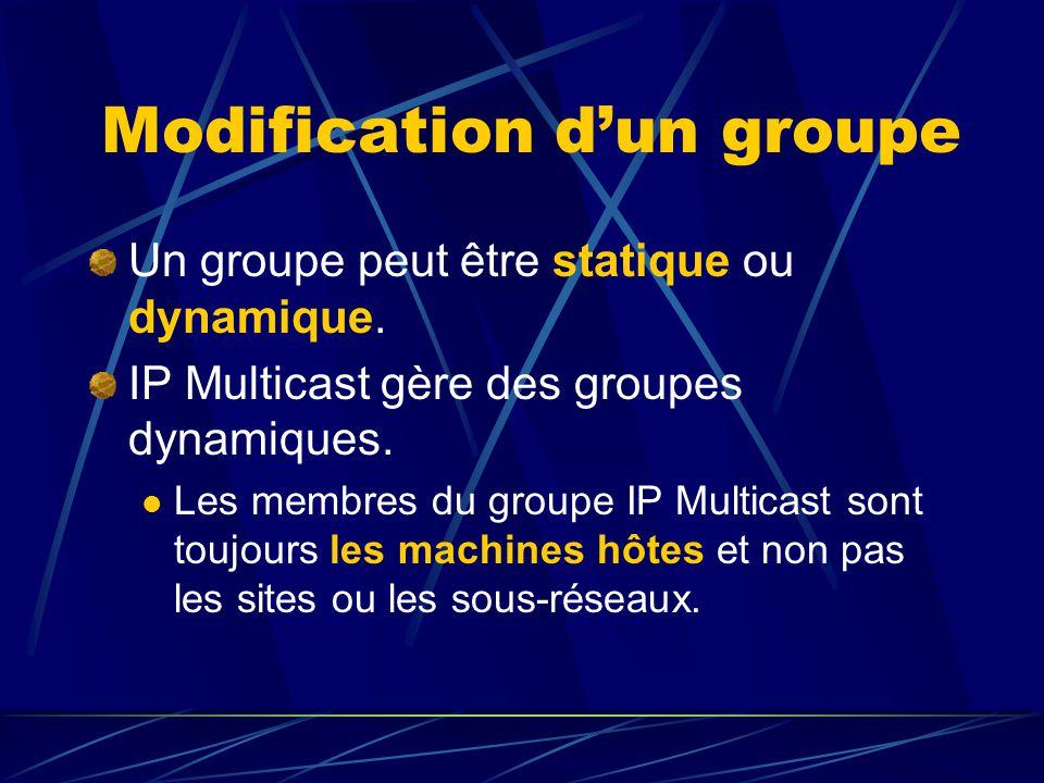 Modification dun groupe Un groupe peut être statique ou dynamique.