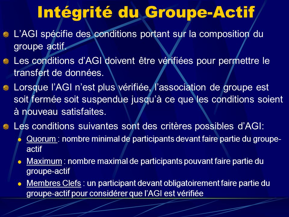 Intégrité du Groupe-Actif LAGI spécifie des conditions portant sur la composition du groupe actif.