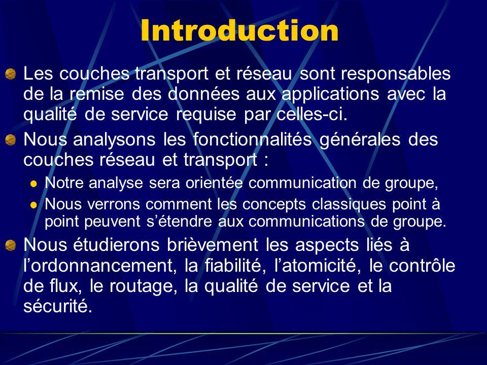 Introduction Les couches transport et réseau sont responsables de la remise des données aux applications avec la qualité de service requise par celles-ci.