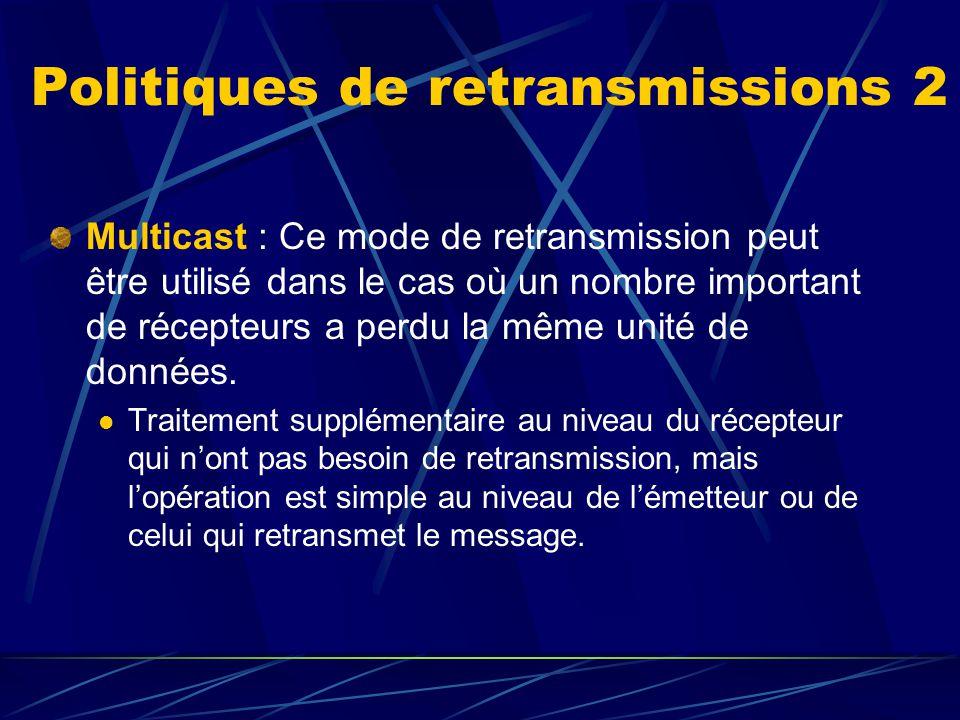 Politiques de retransmissions 2 Multicast : Ce mode de retransmission peut être utilisé dans le cas où un nombre important de récepteurs a perdu la même unité de données.