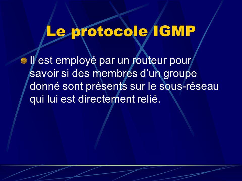 Le protocole IGMP Il est employé par un routeur pour savoir si des membres dun groupe donné sont présents sur le sous-réseau qui lui est directement relié.