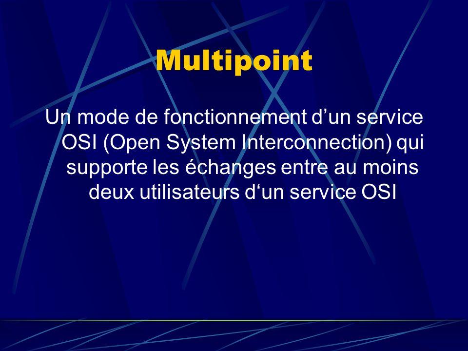 Multipoint Un mode de fonctionnement dun service OSI (Open System Interconnection) qui supporte les échanges entre au moins deux utilisateurs dun service OSI