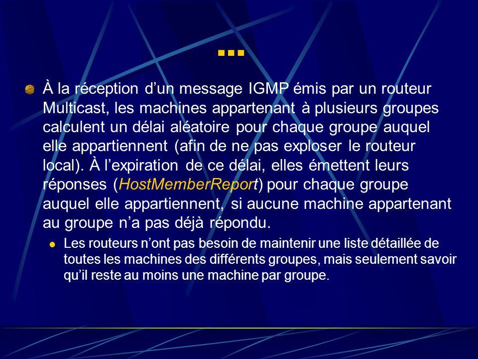 … À la réception dun message IGMP émis par un routeur Multicast, les machines appartenant à plusieurs groupes calculent un délai aléatoire pour chaque groupe auquel elle appartiennent (afin de ne pas exploser le routeur local).