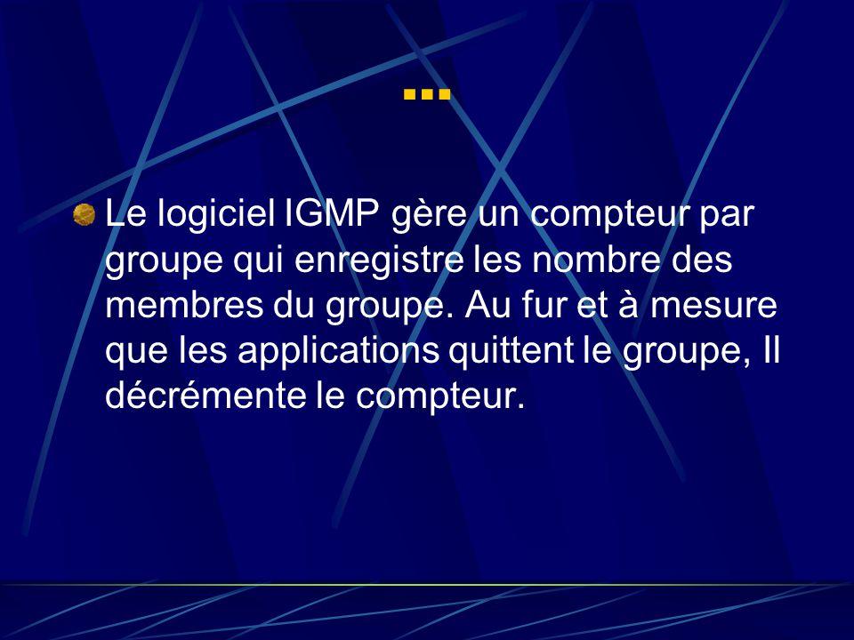 … Le logiciel IGMP gère un compteur par groupe qui enregistre les nombre des membres du groupe.
