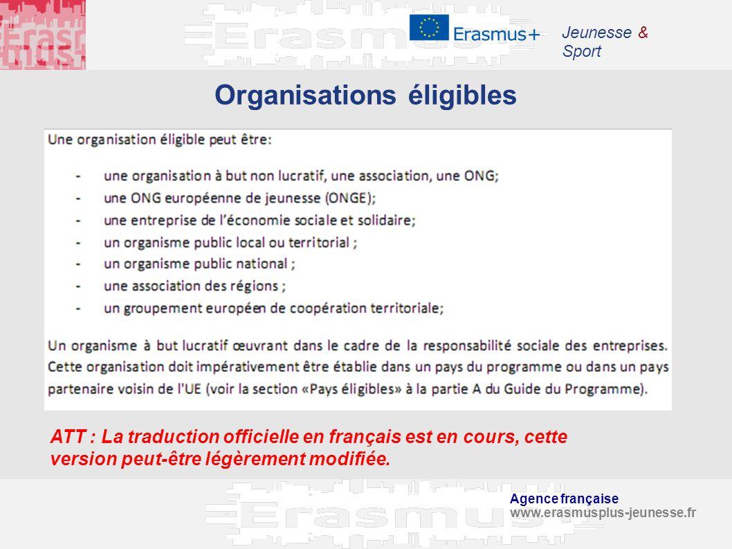 Agence française www.erasmusplus-jeunesse.fr Jeunesse & Sport Organisations éligibles ATT : La traduction officielle en français est en cours, cette v