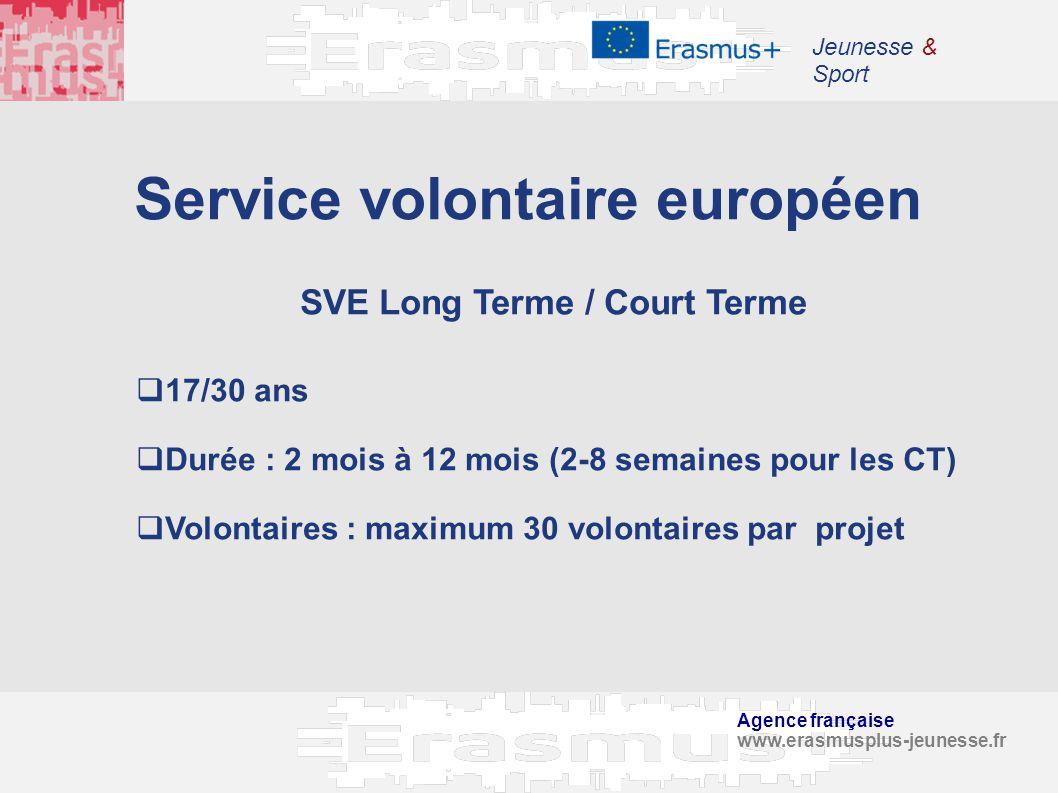 Agence française www.erasmusplus-jeunesse.fr Jeunesse & Sport Service volontaire européen SVE Long Terme / Court Terme 17/30 ans Durée : 2 mois à 12 m