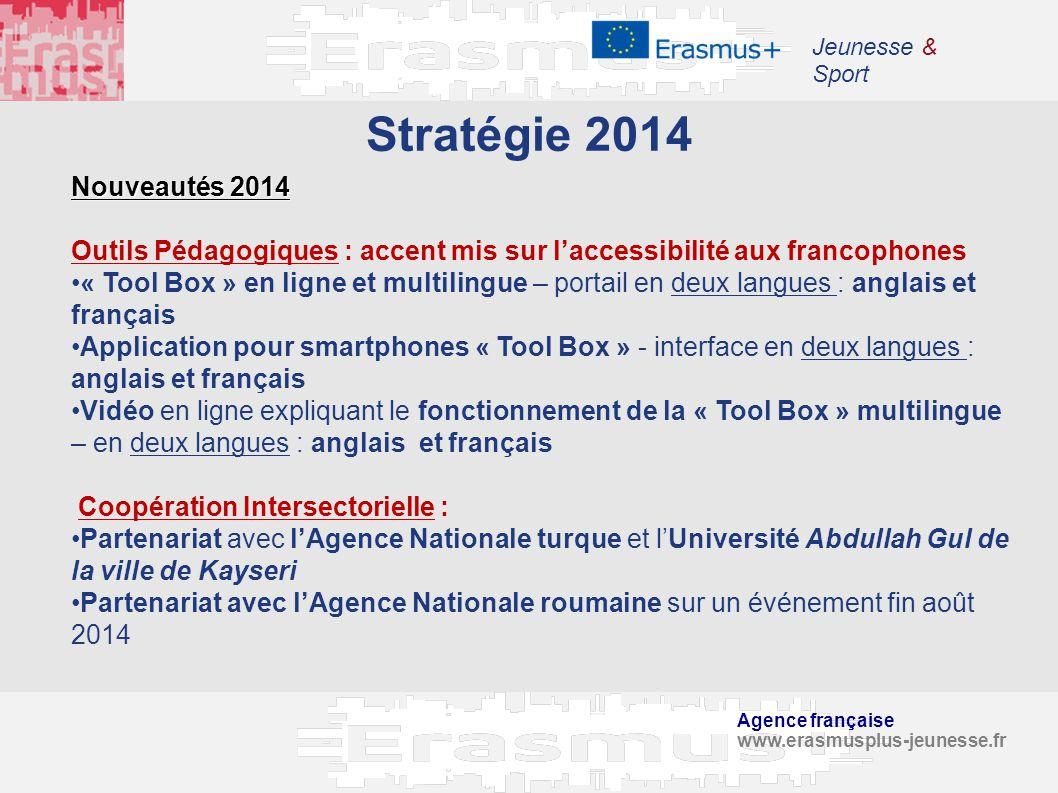 Agence française www.erasmusplus-jeunesse.fr Jeunesse & Sport Stratégie 2014 Nouveautés 2014 Outils Pédagogiques : accent mis sur laccessibilité aux f
