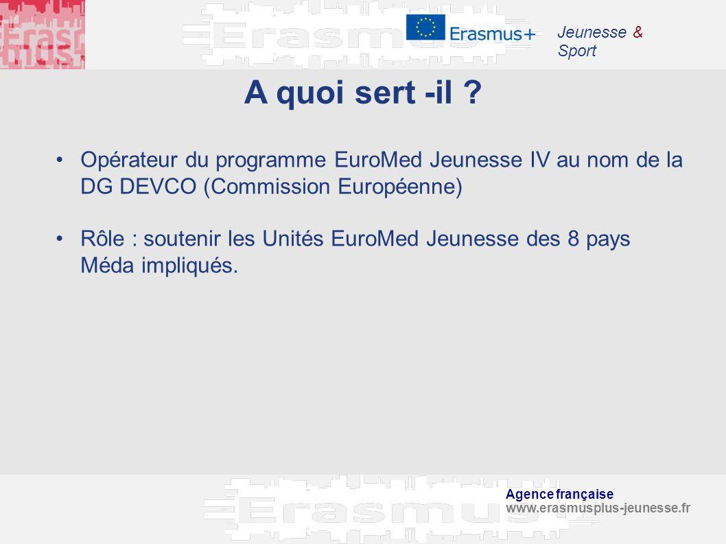 Agence française www.erasmusplus-jeunesse.fr Jeunesse & Sport A quoi sert -il ? Opérateur du programme EuroMed Jeunesse IV au nom de la DG DEVCO (Comm