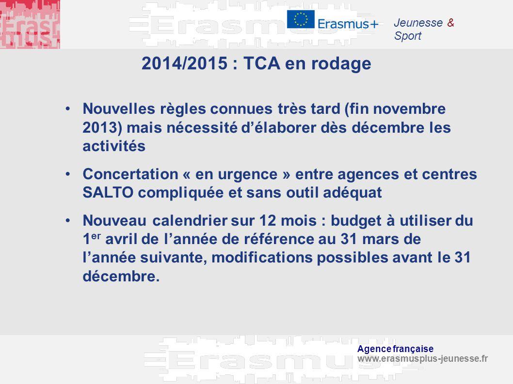 Agence française www.erasmusplus-jeunesse.fr Jeunesse & Sport 2014/2015 : TCA en rodage Nouvelles règles connues très tard (fin novembre 2013) mais né