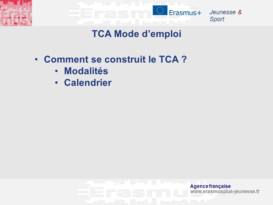 Agence française www.erasmusplus-jeunesse.fr Jeunesse & Sport TCA Mode demploi Comment se construit le TCA ? Modalités Calendrier