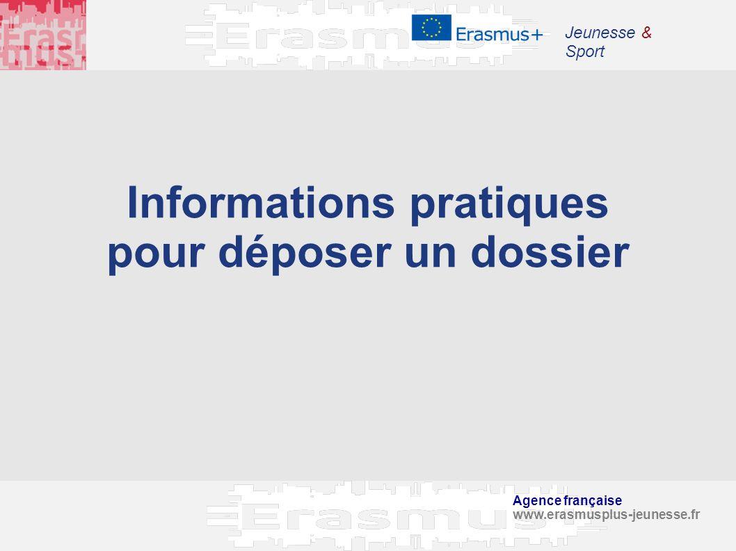 Agence française www.erasmusplus-jeunesse.fr Jeunesse & Sport Informations pratiques pour déposer un dossier