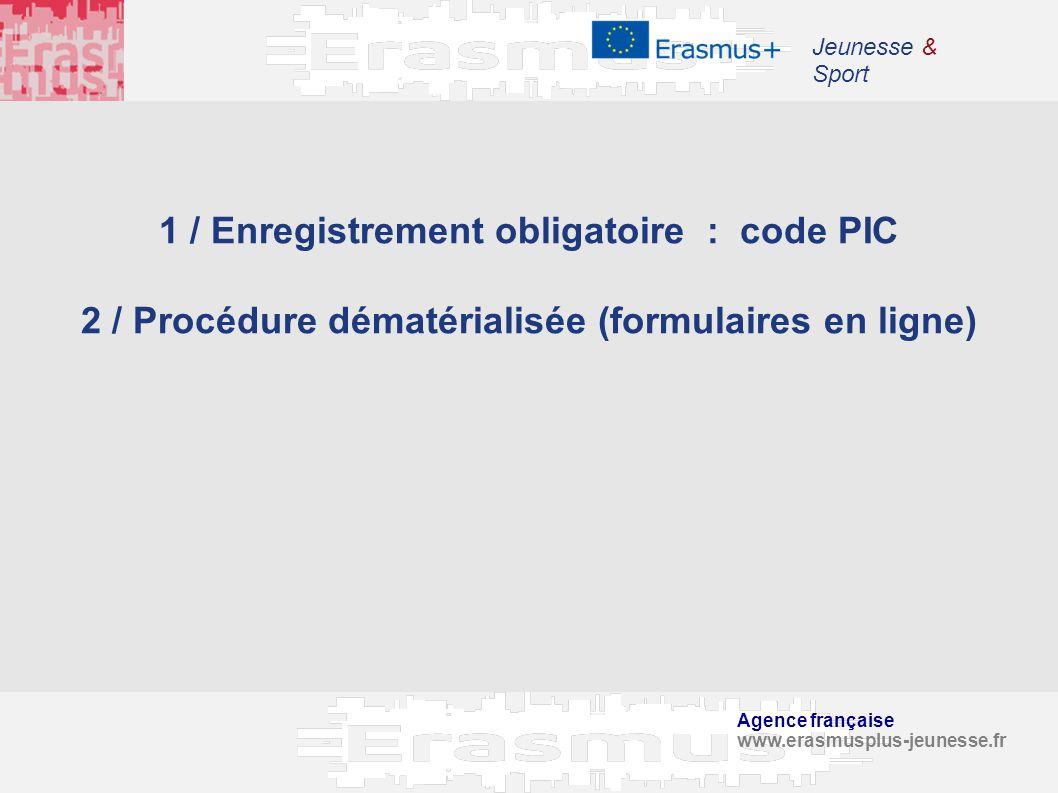 Agence française www.erasmusplus-jeunesse.fr Jeunesse & Sport 1 / Enregistrement obligatoire : code PIC 2 / Procédure dématérialisée (formulaires en l