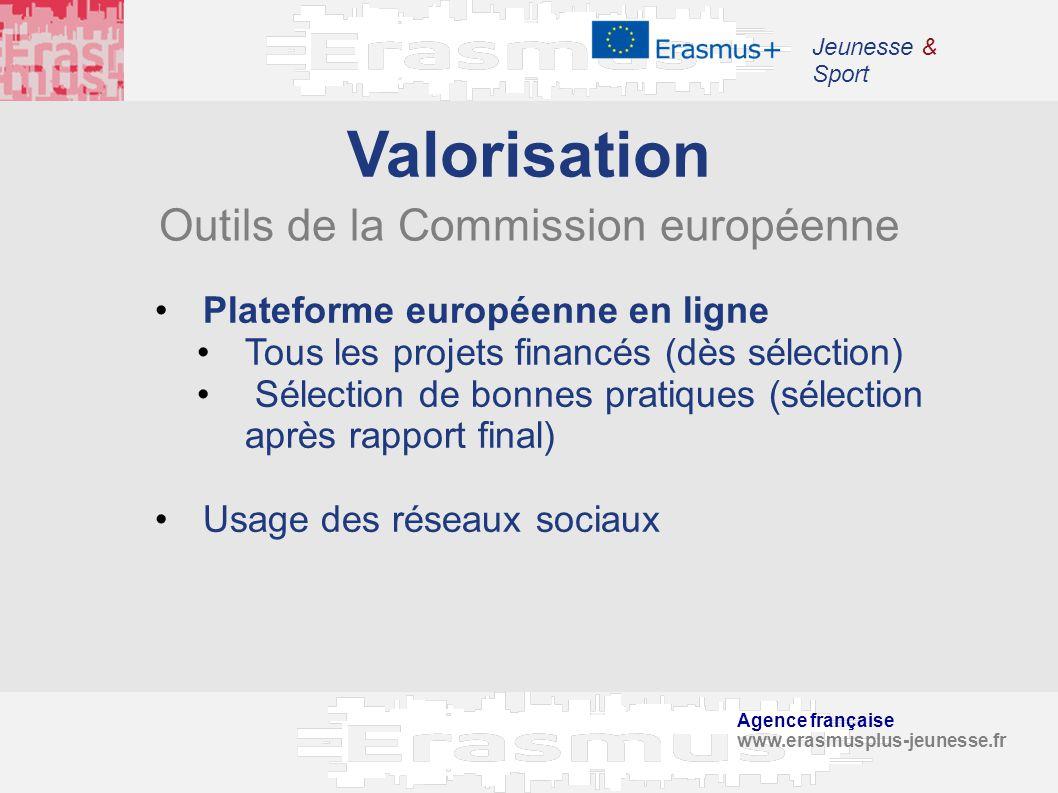 Agence française www.erasmusplus-jeunesse.fr Jeunesse & Sport Plateforme européenne en ligne Tous les projets financés (dès sélection) Sélection de bo