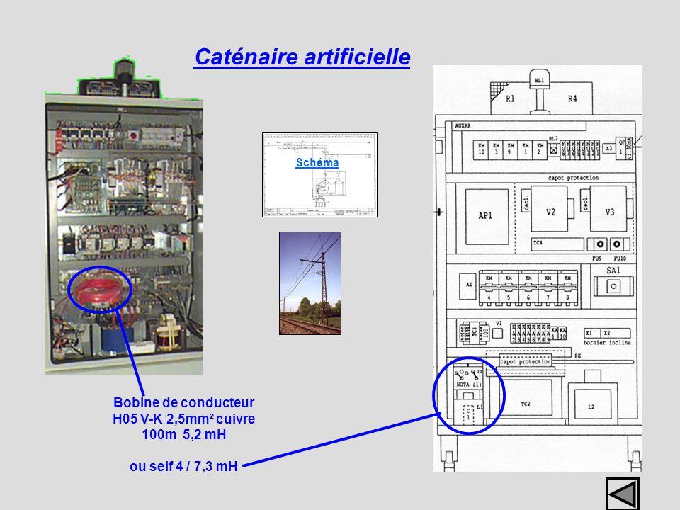 Bobine de conducteur H05 V-K 2,5mm² cuivre 100m 5,2 mH ou self 4 / 7,3 mH Caténaire artificielle Schéma