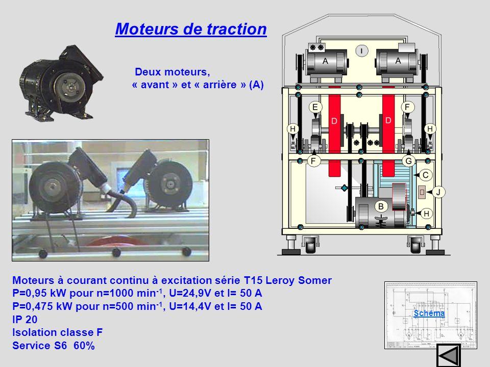 Moteurs de traction Schéma Moteurs à courant continu à excitation série T15 Leroy Somer P=0,95 kW pour n=1000 min -1, U=24,9V et I= 50 A P=0,475 kW po