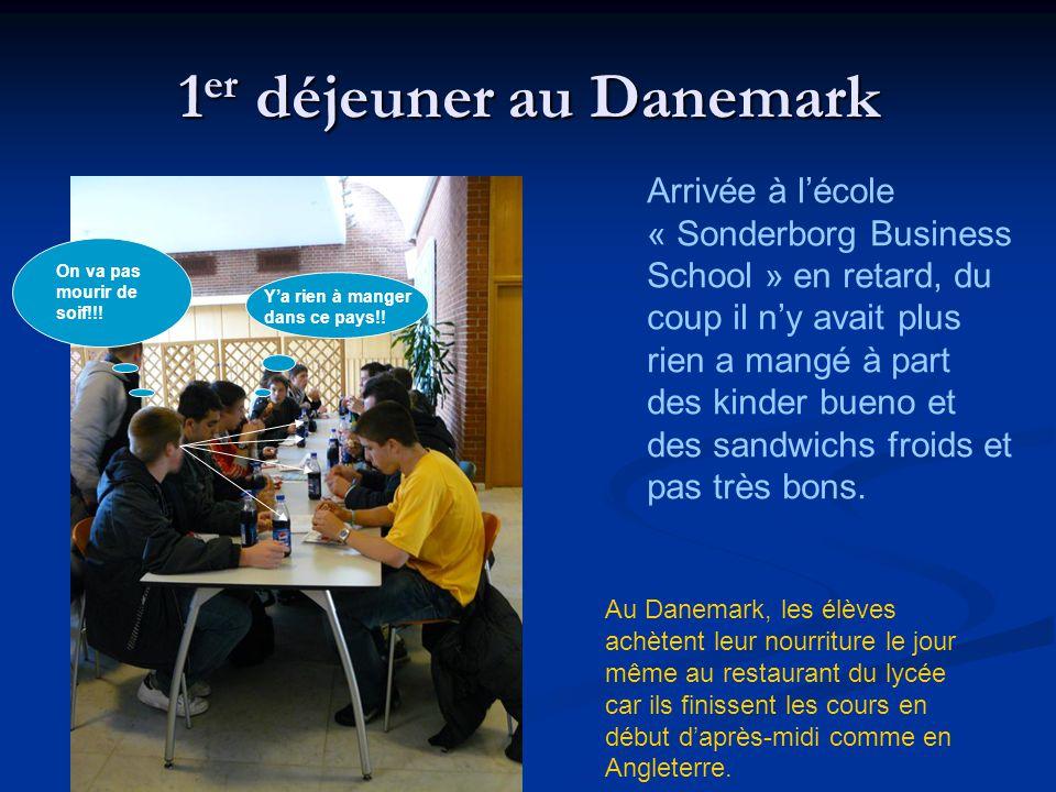 1 er déjeuner au Danemark Arrivée à lécole « Sonderborg Business School » en retard, du coup il ny avait plus rien a mangé à part des kinder bueno et