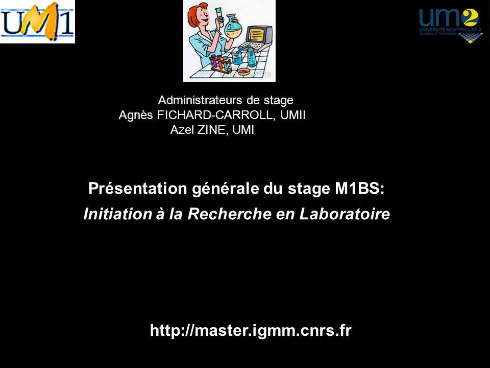 Administrateurs de stage Agnès FICHARD-CARROLL, UMII Azel ZINE, UMI Présentation générale du stage M1BS: Initiation à la Recherche en Laboratoire Anné