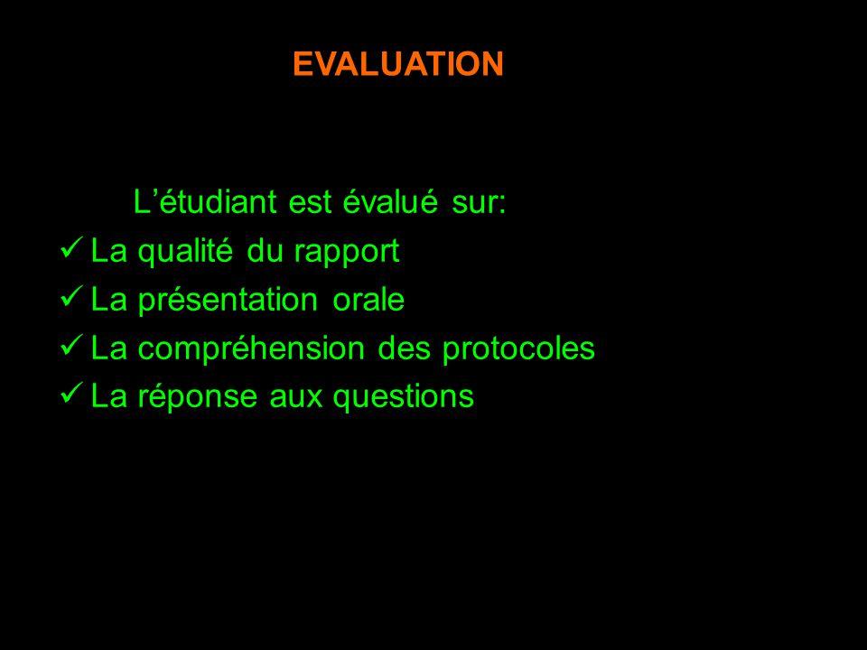 Létudiant est évalué sur: La qualité du rapport La présentation orale La compréhension des protocoles La réponse aux questions NB/ La note est pondéré