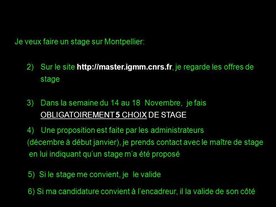 2)Sur le site http://master.igmm.cnrs.fr, je regarde les offres de stage 3)Dans la semaine du 14 au 18 Novembre, je fais OBLIGATOIREMENT 5 CHOIX DE ST