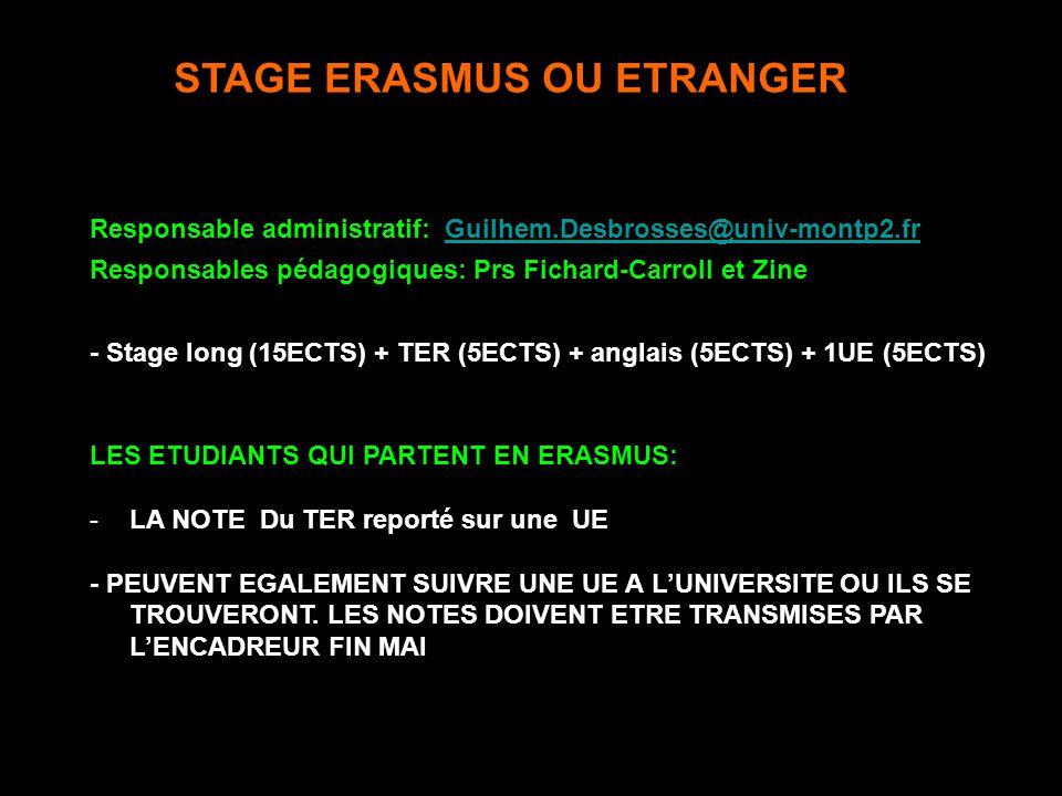 STAGE ERASMUS OU ETRANGER Responsable administratif: Guilhem.Desbrosses@univ-montp2.frGuilhem.Desbrosses@univ-montp2.fr Responsables pédagogiques: Prs