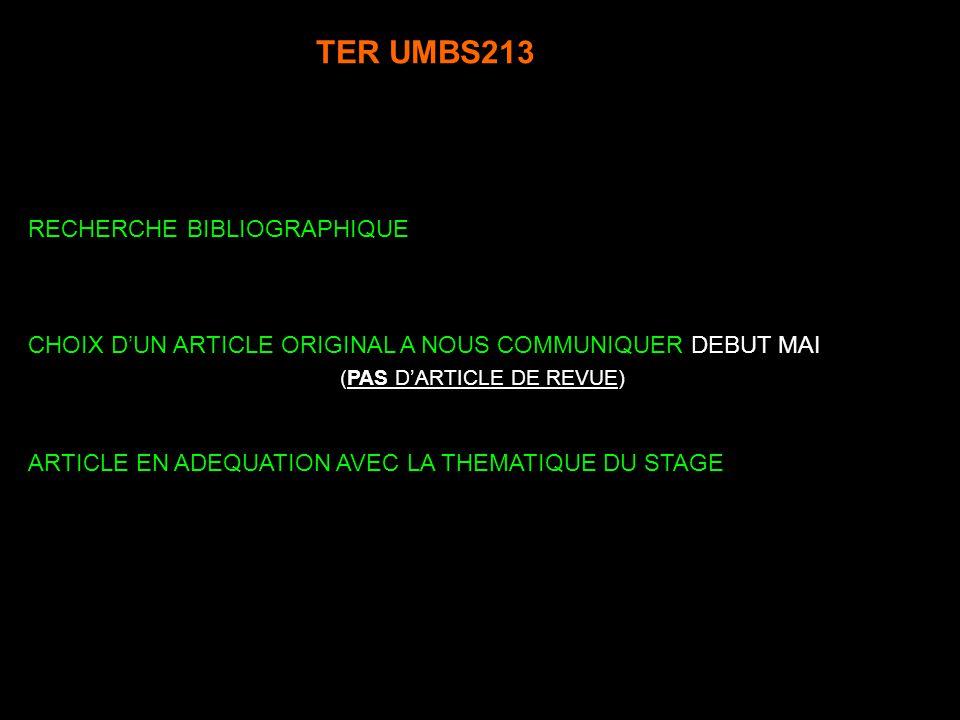 TER UMBS213 CHOIX DUN ARTICLE ORIGINAL A NOUS COMMUNIQUER DEBUT MAI (PAS DARTICLE DE REVUE) RECHERCHE BIBLIOGRAPHIQUE ARTICLE EN ADEQUATION AVEC LA TH
