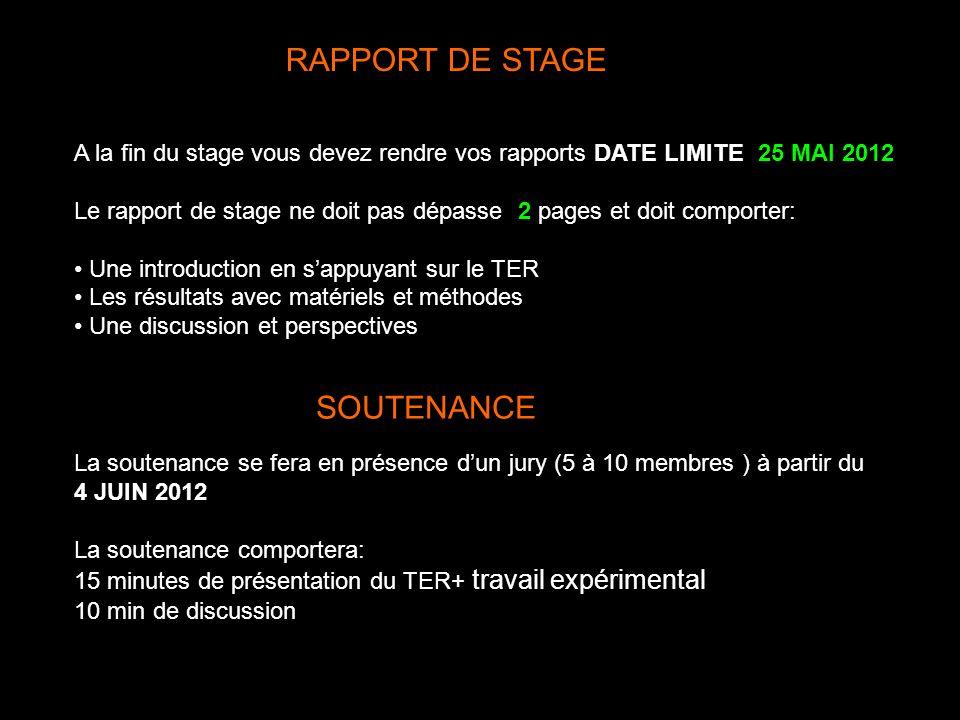 RAPPORT DE STAGE A la fin du stage vous devez rendre vos rapports DATE LIMITE: 25 MAI 2012 Le rapport de stage ne doit pas dépasser 2 pages et doit co