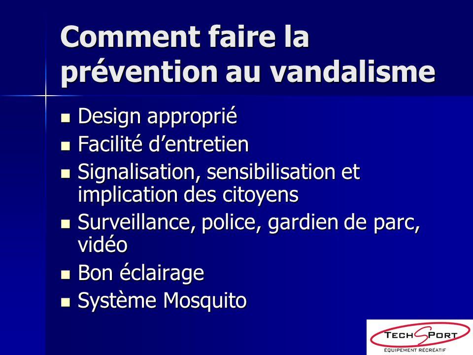 Comment faire la prévention au vandalisme Design approprié Design approprié Facilité dentretien Facilité dentretien Signalisation, sensibilisation et