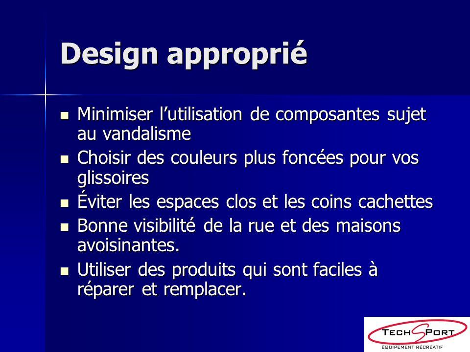 Design approprié Minimiser lutilisation de composantes sujet au vandalisme Minimiser lutilisation de composantes sujet au vandalisme Choisir des coule