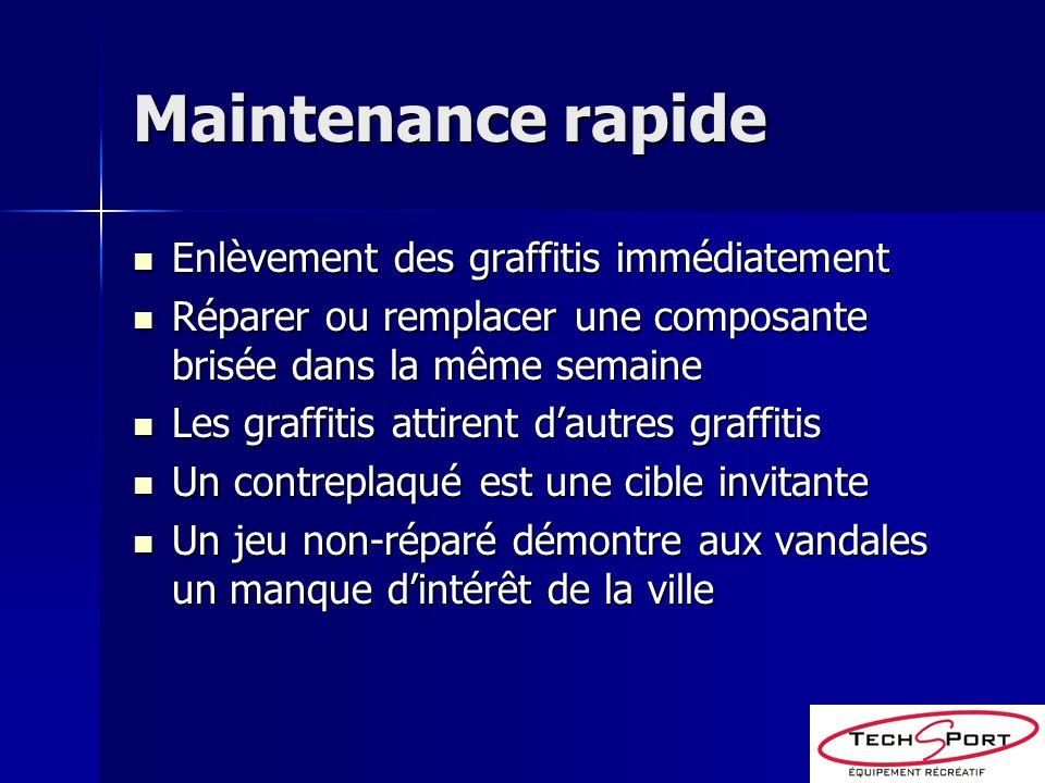 Maintenance rapide Enlèvement des graffitis immédiatement Enlèvement des graffitis immédiatement Réparer ou remplacer une composante brisée dans la mê