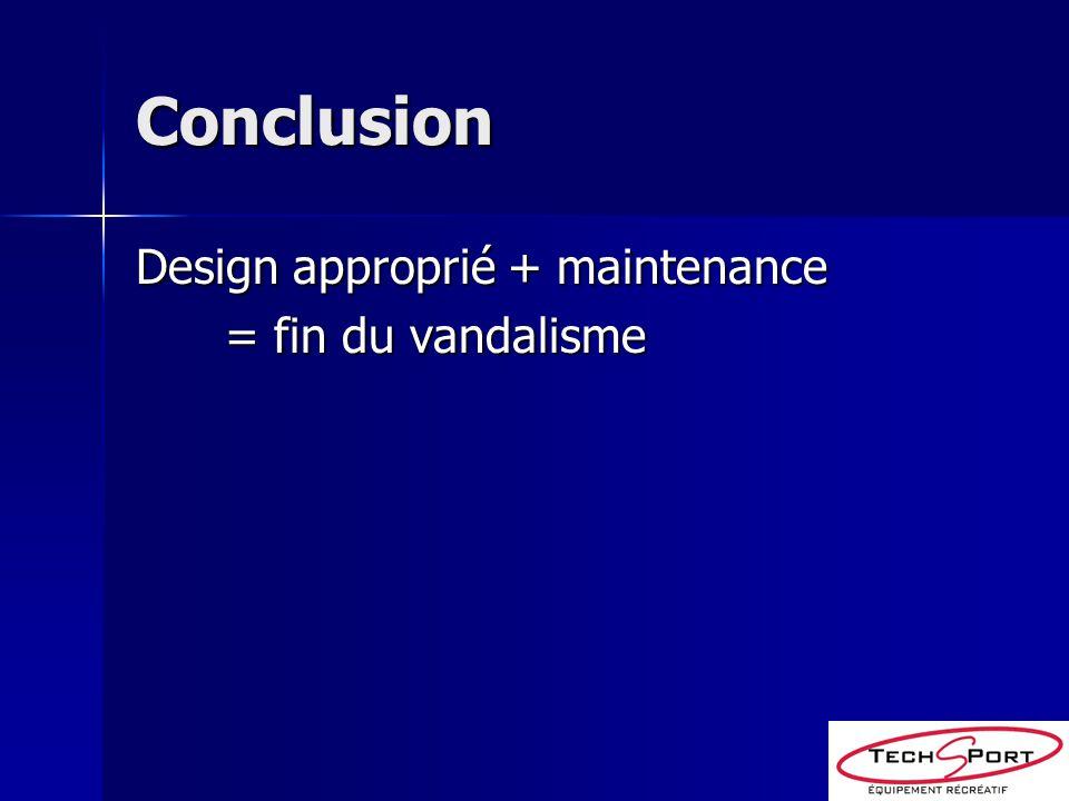 Conclusion Design approprié + maintenance = fin du vandalisme = fin du vandalisme
