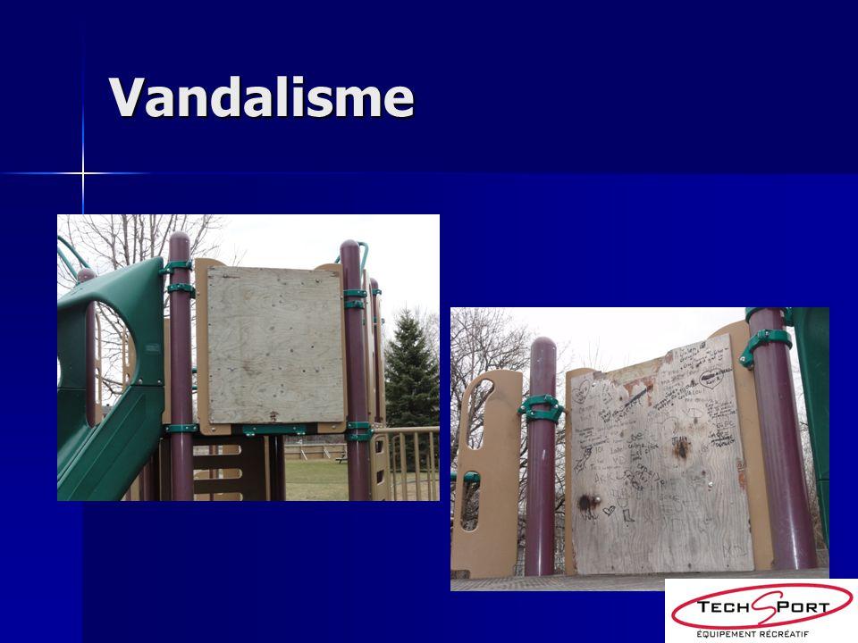 Maintenance rapide Enlèvement des graffitis immédiatement Enlèvement des graffitis immédiatement Réparer ou remplacer une composante brisée dans la même semaine Réparer ou remplacer une composante brisée dans la même semaine Les graffitis attirent dautres graffitis Les graffitis attirent dautres graffitis Un contreplaqué est une cible invitante Un contreplaqué est une cible invitante Un jeu non-réparé démontre aux vandales un manque dintérêt de la ville Un jeu non-réparé démontre aux vandales un manque dintérêt de la ville