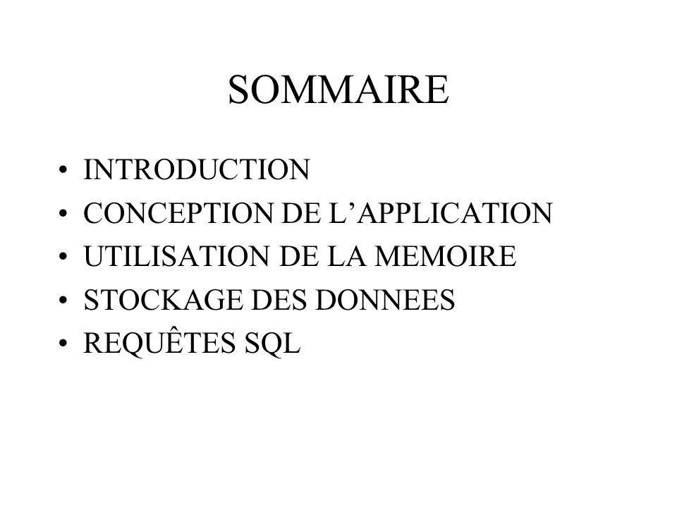 SOMMAIRE INTRODUCTION CONCEPTION DE LAPPLICATION UTILISATION DE LA MEMOIRE STOCKAGE DES DONNEES REQUÊTES SQL