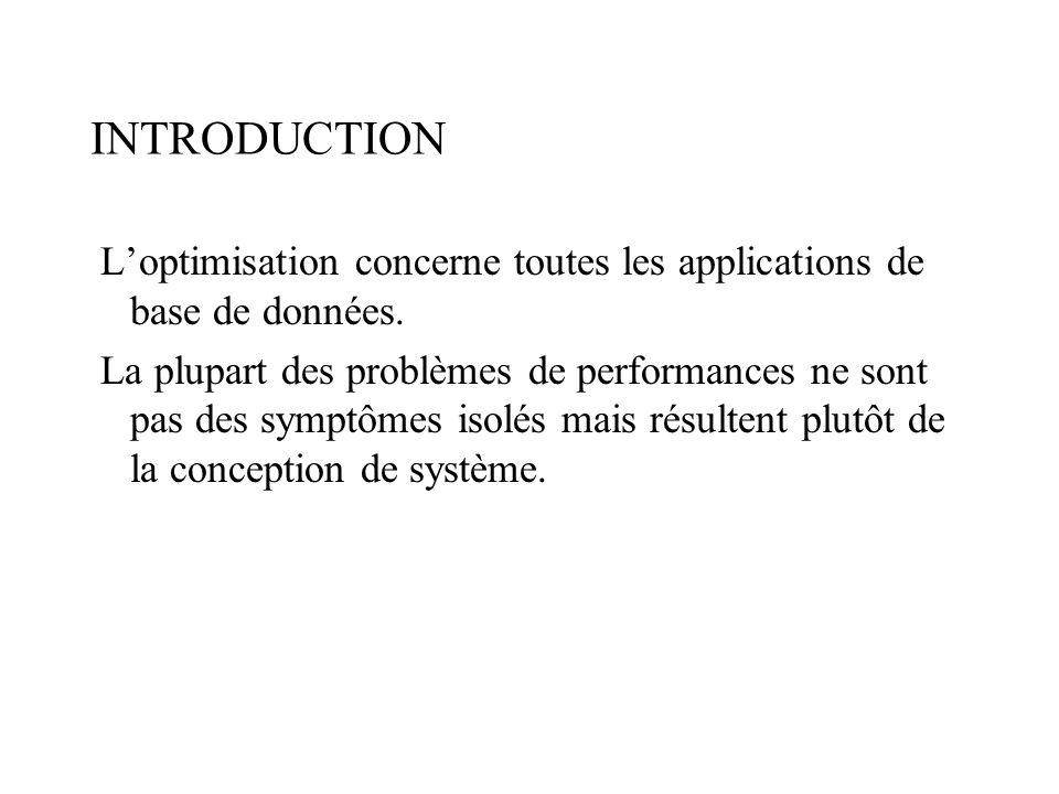 INTRODUCTION Loptimisation concerne toutes les applications de base de données.
