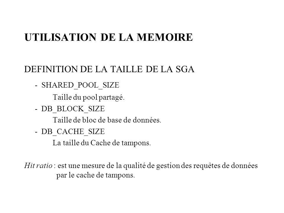 UTILISATION DE LA MEMOIRE DEFINITION DE LA TAILLE DE LA SGA - SHARED_POOL_SIZE Taille du pool partagé.