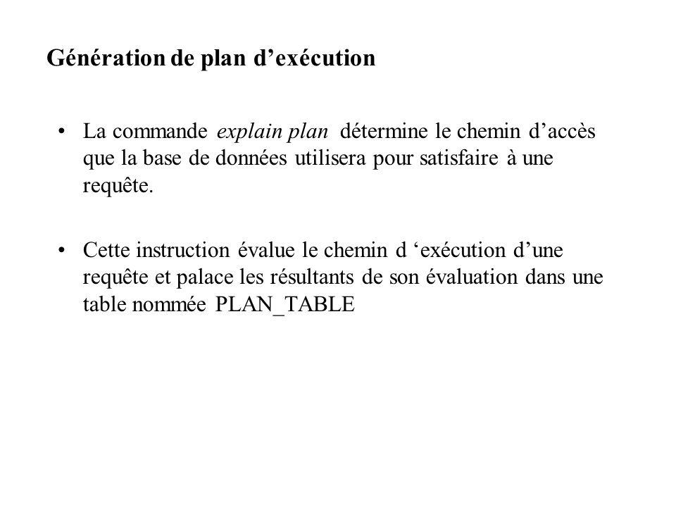 Génération de plan dexécution La commande explain plan détermine le chemin daccès que la base de données utilisera pour satisfaire à une requête.