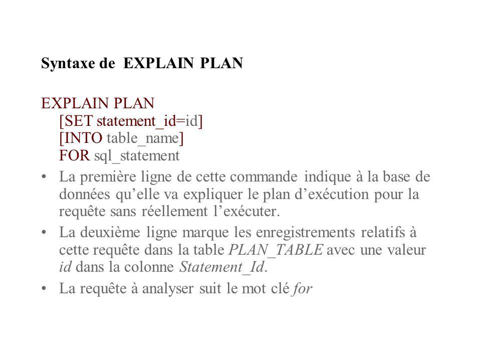 Syntaxe de EXPLAIN PLAN EXPLAIN PLAN [SET statement_id=id] [INTO table_name] FOR sql_statement La première ligne de cette commande indique à la base de données quelle va expliquer le plan dexécution pour la requête sans réellement lexécuter.