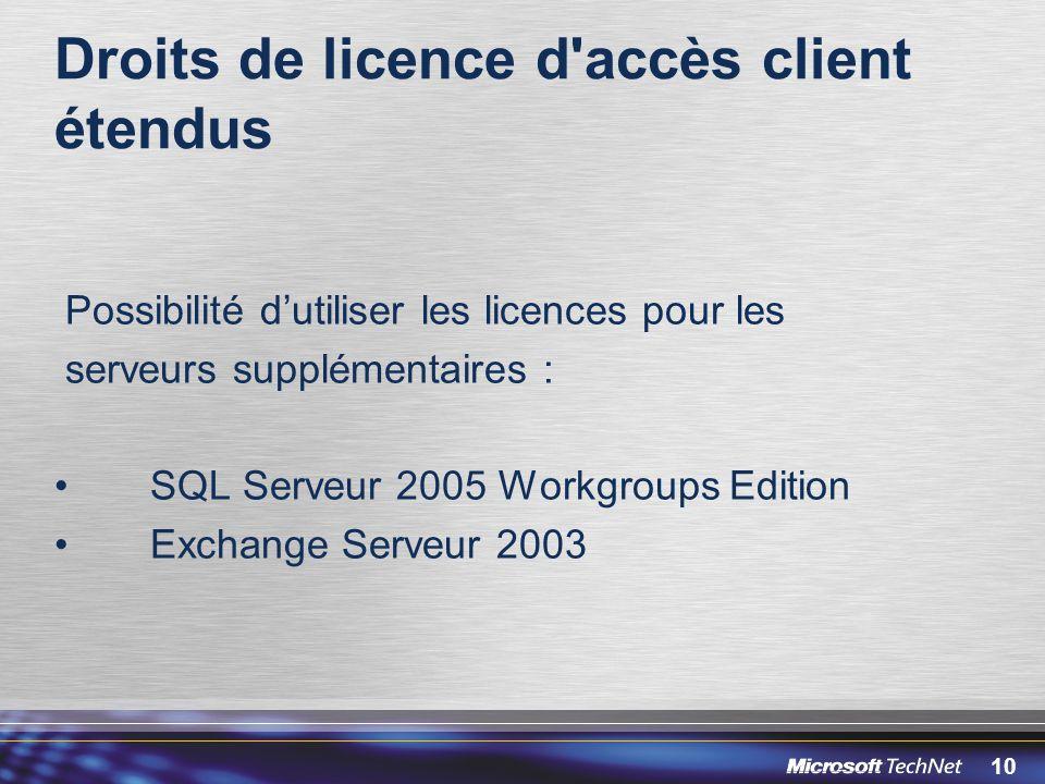 10 Droits de licence d'accès client étendus Possibilité dutiliser les licences pour les serveurs supplémentaires : SQL Serveur 2005 Workgroups Edition