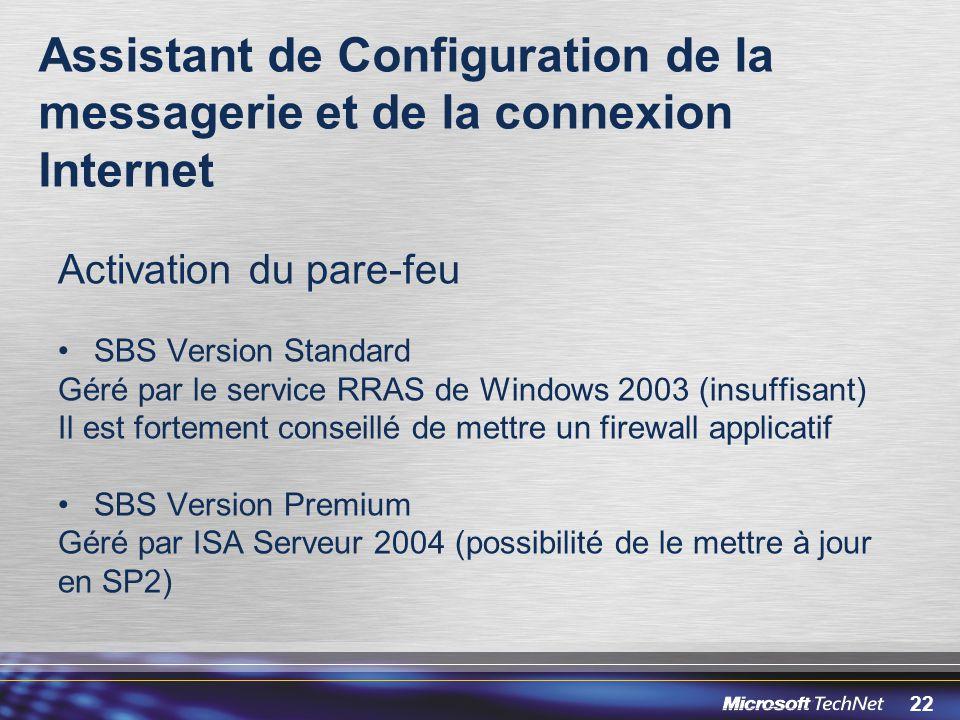 22 Assistant de Configuration de la messagerie et de la connexion Internet Activation du pare-feu SBS Version Standard Géré par le service RRAS de Win