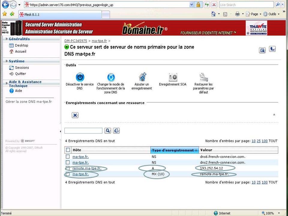 28 Pré requis pour lutilisation dExchange avec Internet (conneceteur SMTP) Il est fortement conseillé davoir : Un nom de domaine une IP Fixe + enregis